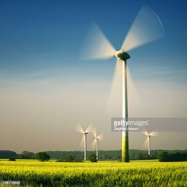 wind turbines - turning stock photos and pictures