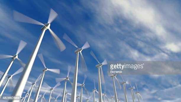 wind turbines - windenergie stockfoto's en -beelden