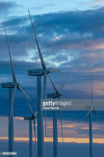 Wind turbines spin at an Acciona wind farm on February 17 2015 near Igualada Spain France and Spain inaugurate the newly combined electrecity project...