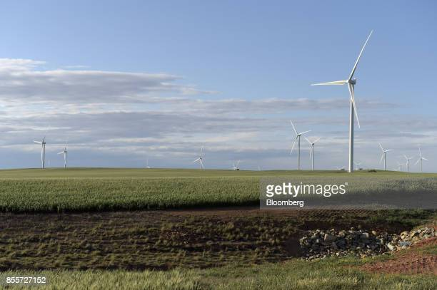 Wind turbines stand at the Hornsdale wind farm operated by Neoen SAS near Jamestown South Australia on Friday Sept 29 2017 Against a backdrop of wind...