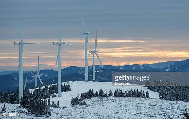 Wind turbines stand at the Steinriegel wind farm operated by Wien Energie GmbH in Steiermark in the Styrian Alps Austria on Friday Jan 8 2016 Chorus...