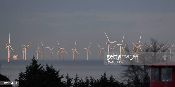 Wind turbines stand in the Irish Sea at the Gwynt y Mor Offshore Wind Farm off the coast of Colwyn Bay north Wales on March 16 2016 / AFP PHOTO /...