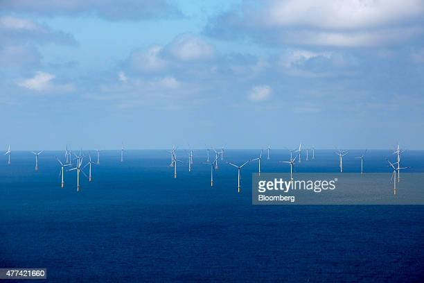 Wind turbines stand in the Meerwind OST wind farm as the Nordsee OST offshore wind park operated by RWE AG operates off the coast of the Heligoland...