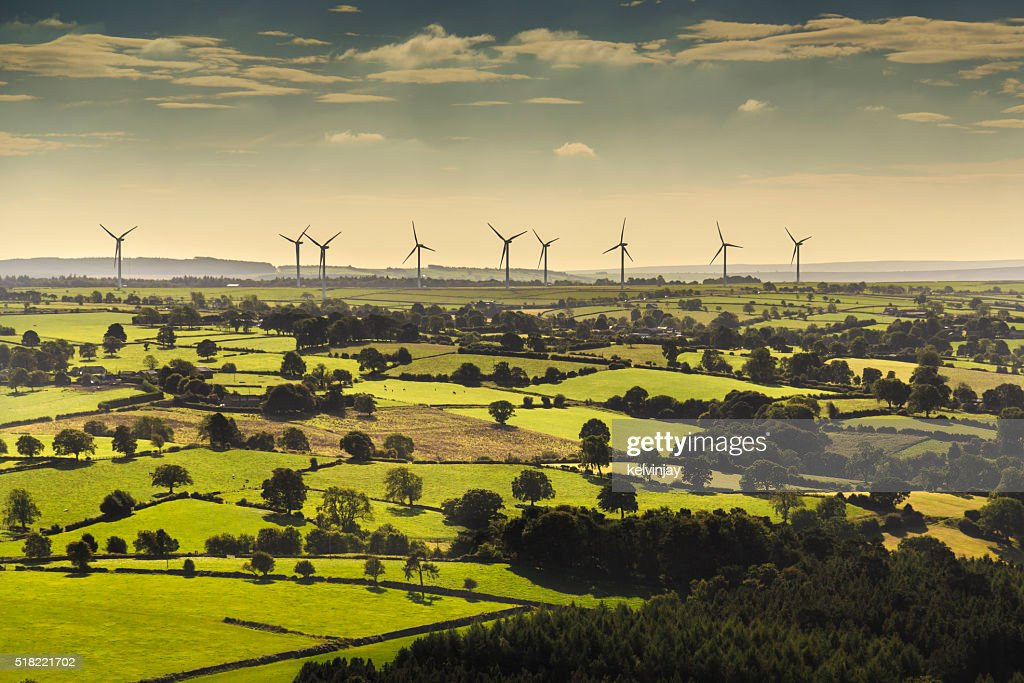 Wind turbines viewed from helicopter : Stock Photo