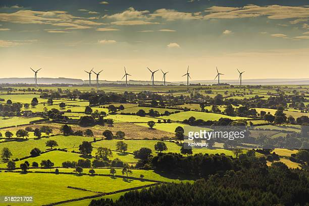 wind turbines viewed from helicopter - windmill stock pictures, royalty-free photos & images