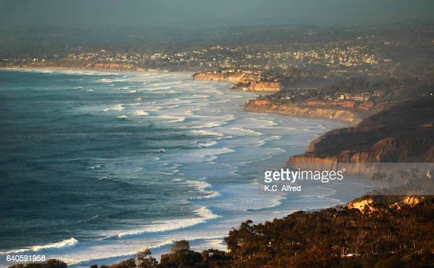 wind whipped waves break in the la jolla area of san diego, ca. - el nino stock pictures, royalty-free photos & images
