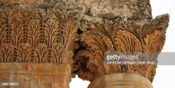 Windblown Acanthus leaf capital and cornice. St. Simeons, Syria.
