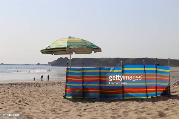 windbreak on beach - tourism stock pictures, royalty-free photos & images