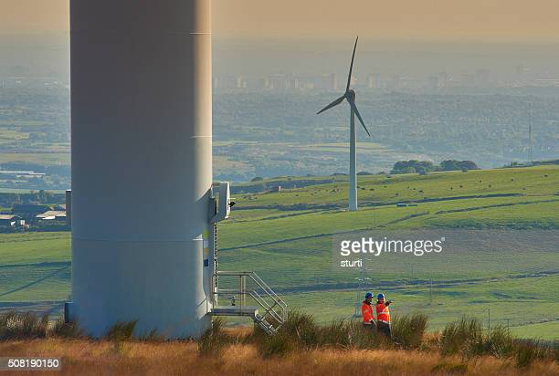 windfarm power engineers - manchester uk stock photos and pictures