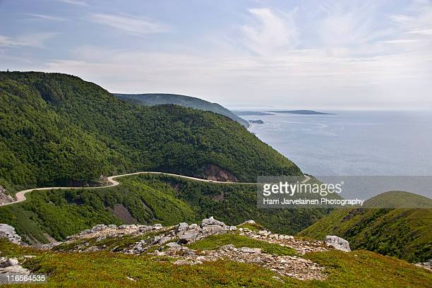 winding cabot trail - cape breton island stock pictures, royalty-free photos & images