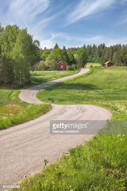 winding country road - finland stock pictures, royalty-free photos & images