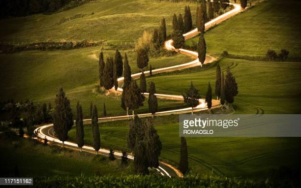 tortuosa strada cypress foderato in monticchiello val d'orcia, toscana, italia - cipresso foto e immagini stock