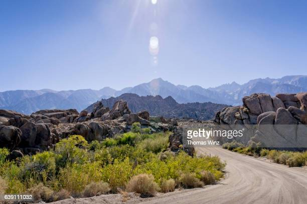 winding dirt road , owens valley - central california stock pictures, royalty-free photos & images