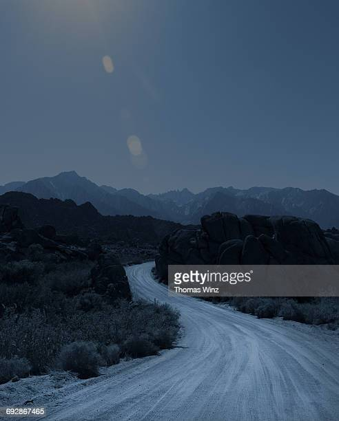 Winding dirt road , Owens Valley