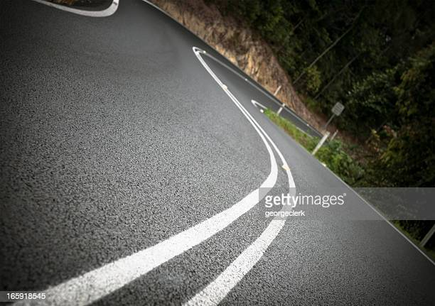 winding forest road - dividing line road marking stock pictures, royalty-free photos & images