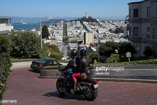 Winding Lombard Street in San Francisco California USA