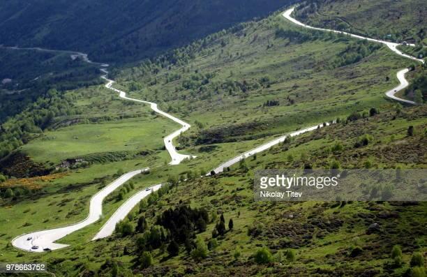 winding mountain road, andorra - andorra fotografías e imágenes de stock
