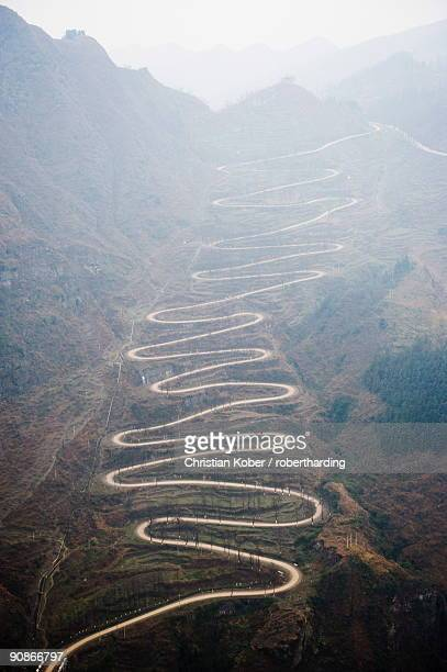 A winding mountain road, China, Asia