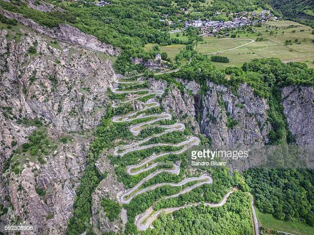 Winding Mountain Road Curves Aerial View