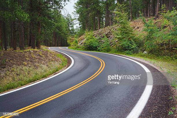 winding mountain road, curves along scenic black hills forest highway - black hills stock pictures, royalty-free photos & images