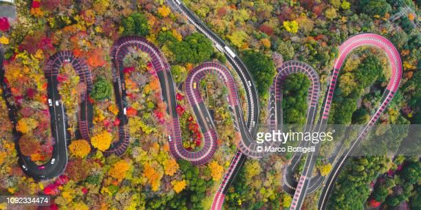 Winding mountain road in autumn, Japan