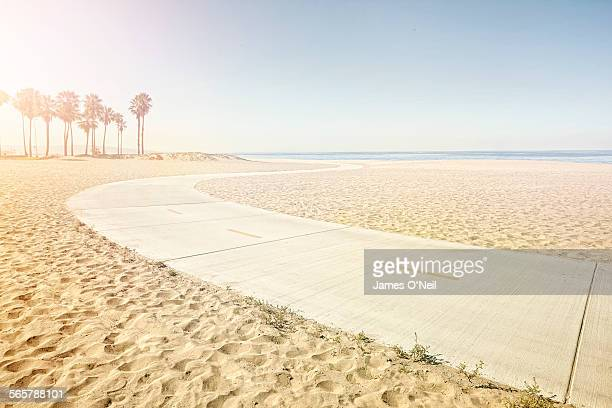 winding path on beach - california photos et images de collection