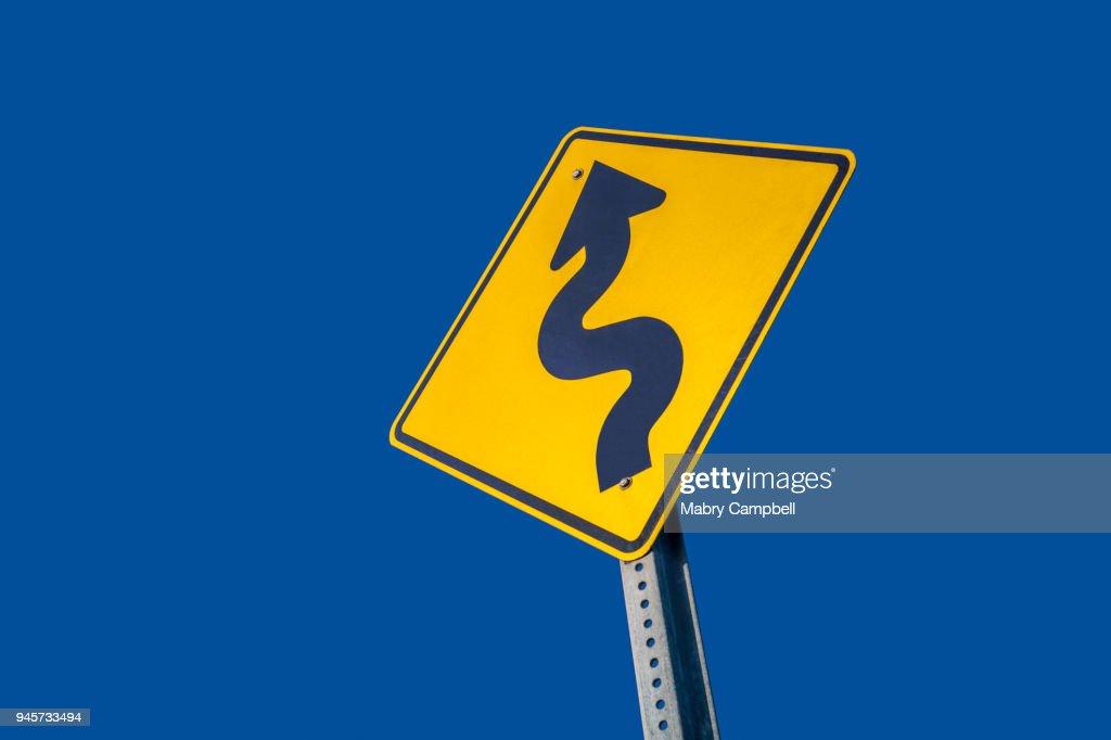 Winding Road Ahead Warning Sign : Stock Photo