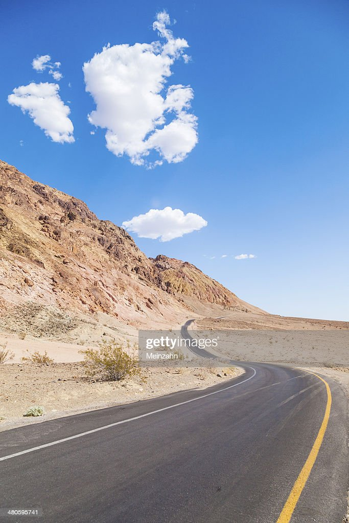winding road Artists drive in the Death Valley : Stock Photo
