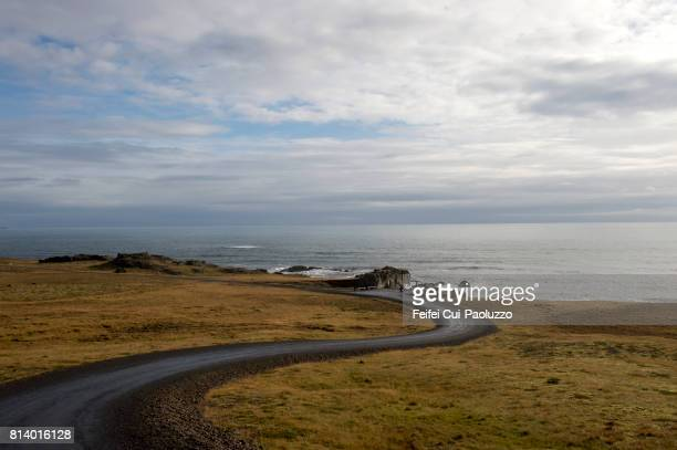 Winding road at Austurhorn in southern Iceland