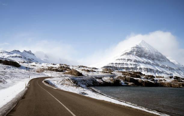 Winding road at Kross, Eastern Iceland