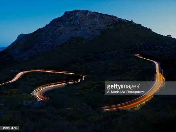Winding road at night