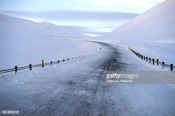 Winding road at Steingrimsfjardarheidi Westfjords of Iceland