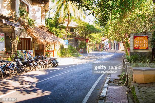 Winding road downtown Ubud Bali Indonesia