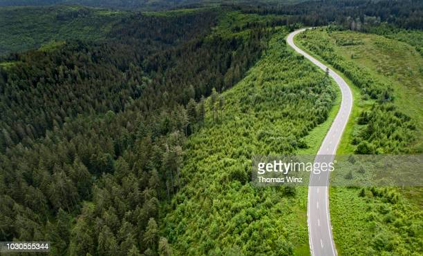 winding road from above - baden württemberg stock pictures, royalty-free photos & images