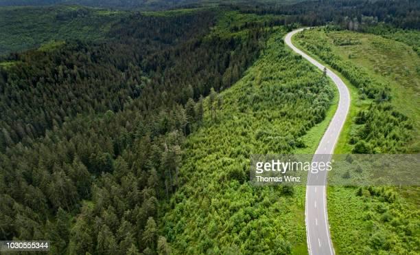 winding road from above - baden württemberg stock-fotos und bilder