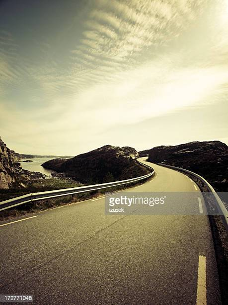 Winding road in Fjell Norway