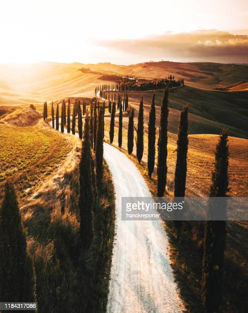 winding road in italy - val d'orcia foto e immagini stock