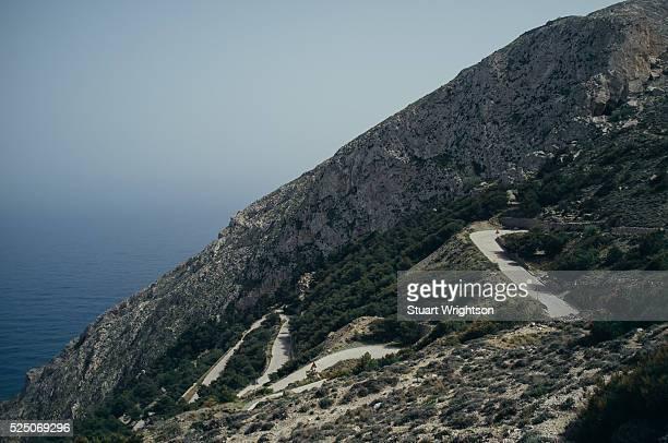 Winding road in Kamari, Santorini, Greek Islands.