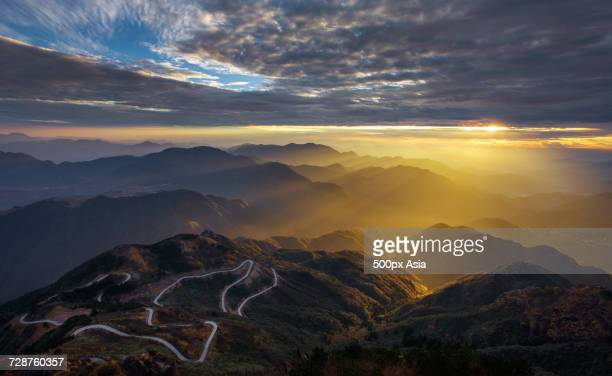 Winding road in mountains, Wenzhou, Zhejiang, China