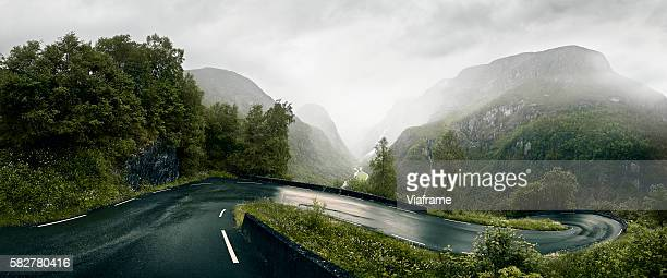 winding road in norway - mountain pass stock pictures, royalty-free photos & images