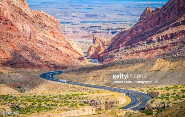 Winding road in remote desert