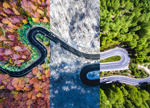 Winding road in the forest. Autumn, summer and winter time colage. Top down aerial view from a drone. 693579562