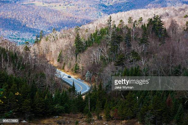 Winding road in the Green Mountains of Vermont
