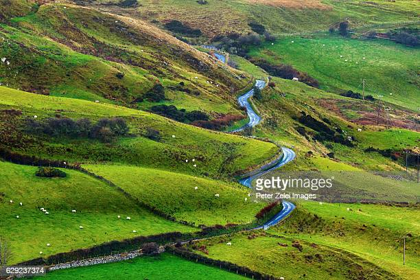 Winding road in the irish landscape