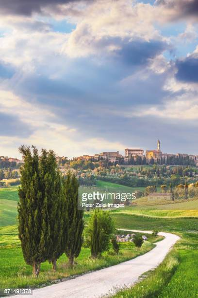 winding road in tuscany with cypress tree, in the background the small town of pienza - siena italy stock photos and pictures