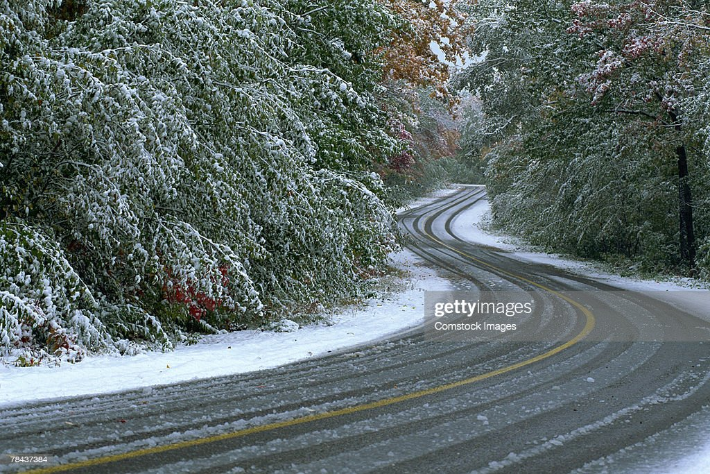 Winding road in winter forest : Stockfoto