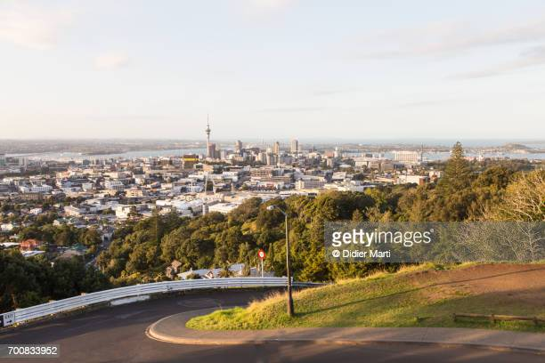Winding road leading to the top of Mount Eden in Auckland