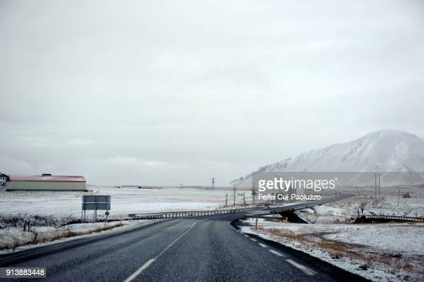 Winding road near Borgarnes, West Iceland