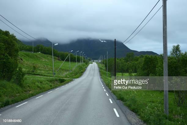 Winding road near Forfjord, Hinnøya island, Norway