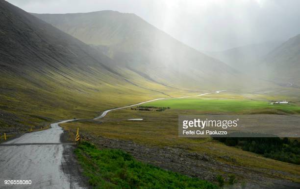 Winding road near Thingeyri, Westfjords, Iceland